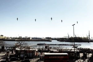 Humans Floating over River with AR Technology